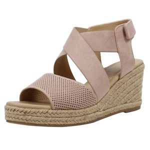 Shoes - Blush Perforated Peep Toe Mid Wedge Espadrille